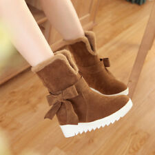 New Warm Winter Ladies Shoes Fuax Fur Linning Faux Suede Bowknot Snow Boots