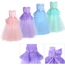 Girls Mesh Lace Party Bridesmaid Wedding Princess Gown Pageant Flower Girl Dress