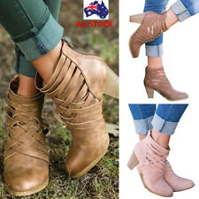 Women Cut Out Zipper Ankle Strap Boots Ladies Pointed Toe High Block Heel Sandal