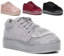 NEW WOMENS FAUX SUEDE PLATFORM WEDGE HEEL RUBBER GRIP SOLE LACE UP FUR SHOES