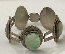 Antique Chinese Carved Green & White Jade Stamped Silver Bracelet