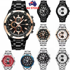 Fashion Men Luxury Military Stainless Steel Date Quartz Analog Sport Wrist Watch
