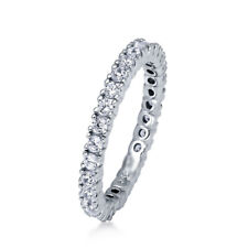 Sterling Silver 925 CZ Round Anniversary Eternity Wedding Band Ring Size 4-10