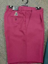 NEW Mens Lawn Bowls BA logo Shorts CITY CLUB Flexi Waist Belt Loop MAROON