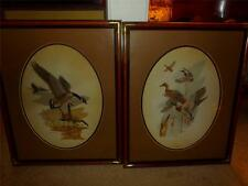 lot of 2 pictures matching one mallards the other geese framed matted artist