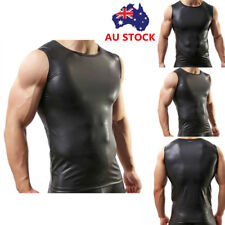 Men's Gym Muscle PU Leather Undershirt Sleeveless Sport Shirt Vest Tank Tops