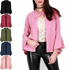 Womens Ladies Frill Long Sleeve Open Front Casual Buckle Jacket Blazer Cardigan