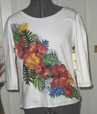 PALM HARBOR KNIT TOP SHIRT SIZE S-PS-PM -PXL WHITE RED FLORAL STRETCH BEADED NWT