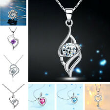 925 Sterling Silver Women A True Love Knot Ladies Necklace Diamond Heart Chain
