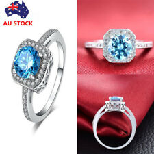 Women 925 Sterling Silver Blue Diamond Ring Engagement Wedding Party Jewelry