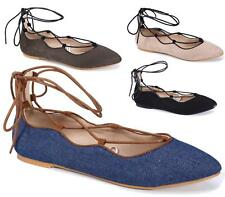 Women Pointed Toe Lace Up Shallow Ankle Strap Party Ballet Pumps Flats Shoes Siz