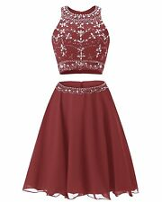 Women's Short Two Pieces Homecoming Dress Chiffon Beading Bridesmaid Party Dress