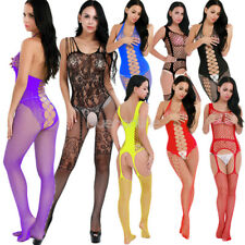 Women Lingerie Hollow Out Crotchless Fishnet Suspender Bodystocking Nightwear
