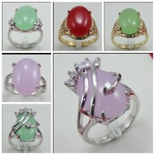 Pretty Women 18K gold plated natural Jade Beads  Jewelry Ring Size  7 8 9