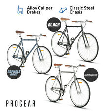 Progear Fixie Bicycle Single Speed Bike 700c Steel 53/56cm Black / Chrome