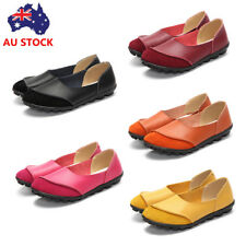 Women Leather Walking Flat Casual Loafers Shoes Comfort Work Slip On Peas Shoes