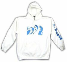 The Beatles Blue Faces Image Pull Over White Sweatshirt Hoodie New Official