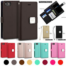 Samsung Galaxy S9 / S9 Plus - 6 Card Slots Faux Leather Wallet Folio Case Strap