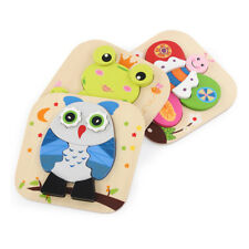 Cartoon Frog/Owl/Butterfly Animal Jigsaw Puzzle Kid Wooden Intellectual Toy Gift