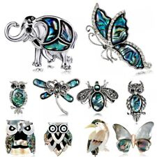 Animal Owl Elephant Butterfly Dragonfly Shell Crystal Brooch Pin Mother's Day