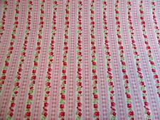 Pink floral stripe roses fabric 100% cotton fat quarter half metre and metre