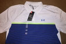 NEW 2018 Mens  Under Armour Playoff Polo Shirt, Navy Heather Stripe Large