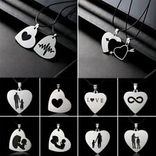Stainless Steel Love Heart Cross Mom Dad Son Daughter Pendant Necklace To Family