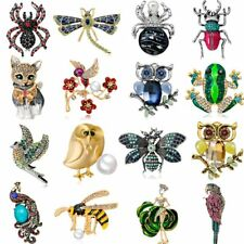 Crystal Pearl Bird Cat Butterfly Dragonfly Bee Animal Brooch Pin Costume Jewelry