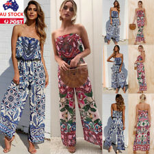 Summer Women Off Shoulder Jumpsuit Floral Party Holiday Beach Romper Playsuit