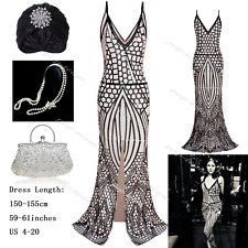 Mermaid Slit 1920s Roaring Gatsby Flapper Party Evening Cocktail Dress US 4-20