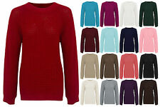 NEW WOMENS LADIES BAGGY LOOSE FIT KNITTED JUMPER CHUNKY PLAIN SWEATER TOP