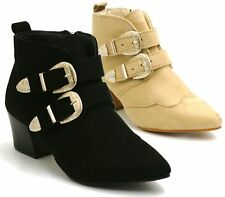 NEW LADIES COWBOY FAUX SUEDE ANKLE BOOTS WOMENS TWIN BUCKLE STYLE MID HEEL SHOES