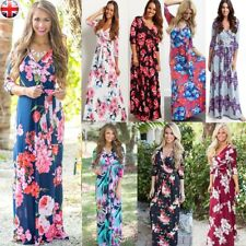 Womens V Neck Plus Size Summer Maxi Dress Full Length Floral Holiday Party Dress
