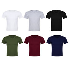 Fashion Men's Cotton Tee Shirt T-Shirt Slim Fit Short Sleeve Summer Casual Tops
