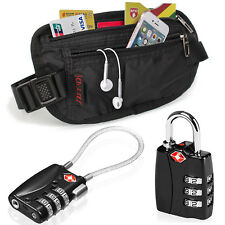 Travel TSA Lock Luggage Suitcase Padlock + RFID Blocking Passport Belt Bag Set