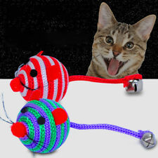 Stripe Nylon Rope Round Ball Mouse Long Tail Bell Pet Cat Bite Play Toy Goodish
