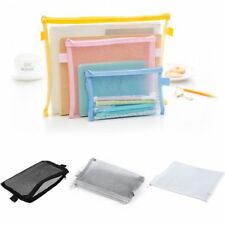 Clear Exam Pencil Case 20cm Transparent Simple Mesh Zipper Stationery Bag Brand