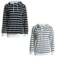 Womens Hooded Striped Sweatshirt Funnel Neck Banded Bottom Casual Pullover S-XXL
