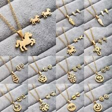 Fashion Women Stainless Steel Jewelry Set Gold Pendant Chain Necklace Earrings