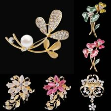 Fashion Rhinestone Crystal Flower Clover Plant Brooch Pin Women Party Jewelry
