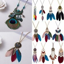 Vintage Women Boho Feather Pendant Long Chain Necklace Beads Tassel Jewelry Hot
