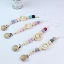 Baby Kids Wooden Beaded Pacifier Clip Chain Holder Nipple Teether Dummy Strap