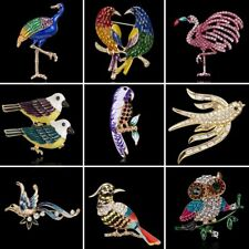 Wholesale Crystal Rhinestone Parrot Animals Brooch Pin Women Costume Jewelry Hot