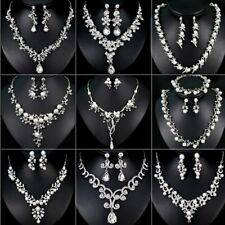 Wedding Bridal Crystal Necklace Earrings Jewelry Set Women Costume Gift Party