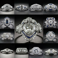 Fashion Blue White Sapphire  925 Silver Filled  Chic Rings Wedding Jewelry Gift