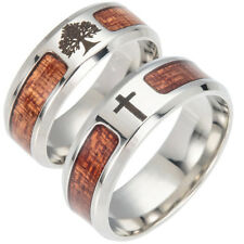 JN_ Men Wood Inlaid Stainless Steel Finger Ring Jewelry Wedding Band Ring Exqu