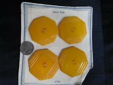 vintage Lot set 4 BUTTERSCOTCH BAKELITE LARGE CARVED rope edge BUTTONS on Card