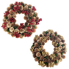 Gold Pine Cones & Glitter Berries Twig Christmas Wreath, 17-Inch