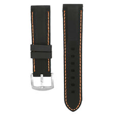 Black Rubber Watch Strap Divers Diving Dive Waterproof Mens Band 20mm-26mm