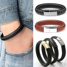 Men Punk Leather Stainless Steel Bracelet Wristband Cuff Bangle Jewelry Party